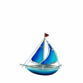 Stained Glass Yacht - Blue - 15cm