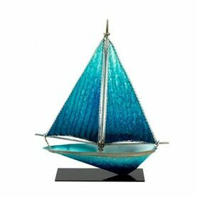 Art Metal Yacht with Stand - Blue - 26cm
