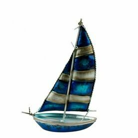 Art Metal Bermuda-Rigged Yacht - Striped Sails - 25cm