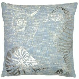 Nauticalia Seashell Cotton Cushion, blue, 45cm