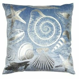 Nauticalia Shells Velvet Cushion, blue, 45cm