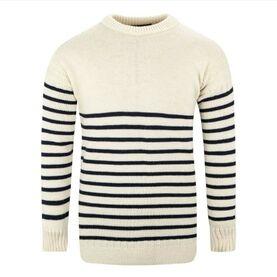 Breton Crew Sweater 100% Wool, Ecru