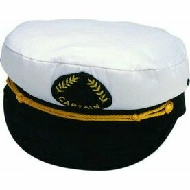 Nauticalia White & Black Captain's Cap