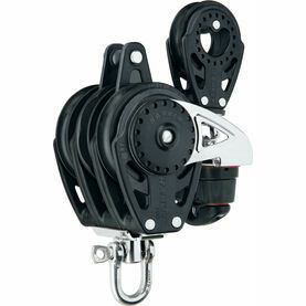 Harken 75 mm Triple Ratchamatic Block Swivel, Becket, Cam Cleat, 57 mm Block