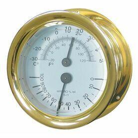 Meridian Zero Capstan Brass Thermometer Hygrometer
