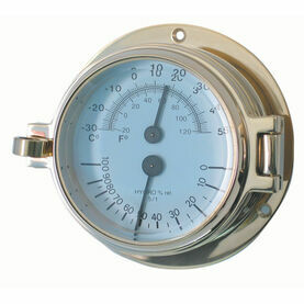 Meridian Zero Channel Brass Thermometer Hygrometer