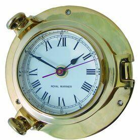 Meridian Zero Porthole Brass Clock - Large