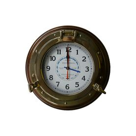 Meridian Zero Brass Porthole Wood Mounted Tide Clock - 14""