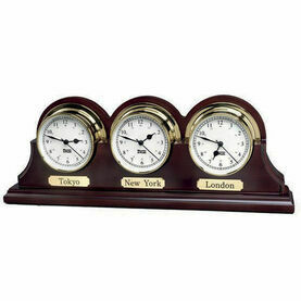 Weems & Plath Triple Mahogany Wood Base For Endurance Clock 085