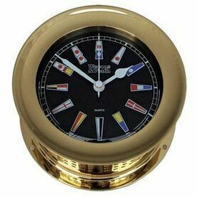 Weems & Plath Atlantic Nautical Flag Black Dial Clock