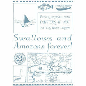Nauticalia Swallows and Amazons Duffers Montage Tea Towel