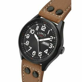 Limit Pilot's Watch With PU Leather Strap - Black/Brown