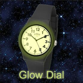 Limit Men\'s Glow-Dial Watch With Silicone Strap - Black