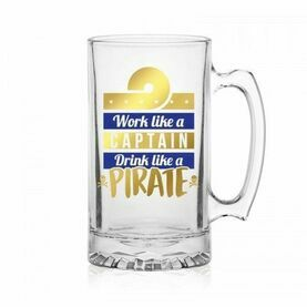Nauticalia Glass Tankard - \'\'Work like a Captain\'\'