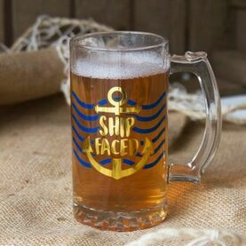 Nauticalia \'\'Ship Faced\'\' Glass Beer Tankard