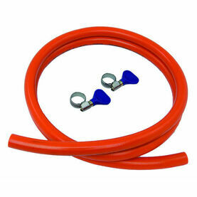 Talamex Gas Hose Thermoplast 8 x 15mm 10M bar 100cm with 2 Ss Clamps