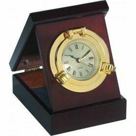 Nauticalia Brass Porthole Clock/Box