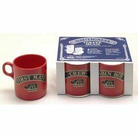 Nauticalia 4 Stackable Red Mugs - 245ml