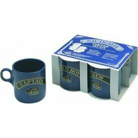 Nauticalia Blue Stackable Slogan Mugs - Set of 4