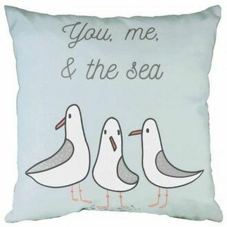 """You Me & The Sea"" Cushion - Blue"