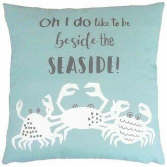 """""""Oh, I do like to be beside the seaside"""" Cushion"""