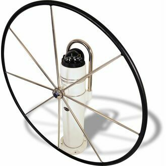"Lewmar 48"" Commodore Wheel, 8 Spoke Flat with Hide Cover"