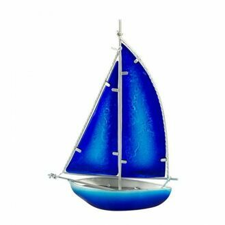 Stained Glass Bermuda-rigged Yacht - blue - 26cm