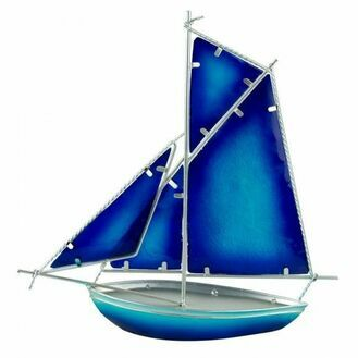 Stained Glass Sloop -Blue - 30cm