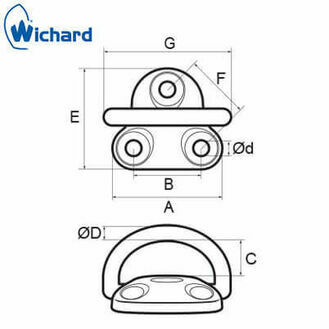 Wichard 8mm Folding Pad Eye