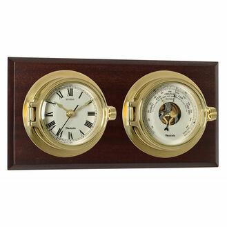 Nauticalia Mounted Riviera Brass Clock & Barometer