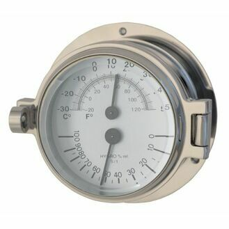 Polished Chrome Channel Thermometer & Hygrometer