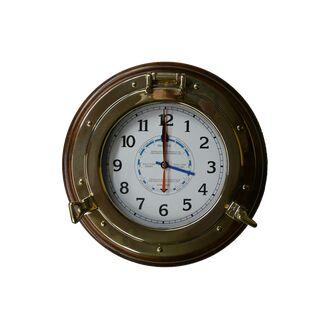 """Meridian Zero Wood Mounted Brass Porthole Tide Clock - 14"""""""