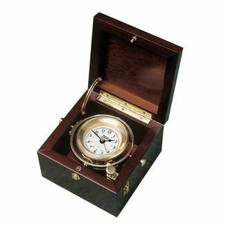 Weems & Plath Brass Gimballed Nautical Box Clock