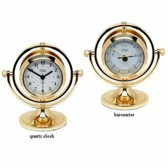 Weems & Plath Brass Gimballed Skipjack Clock & Barometer