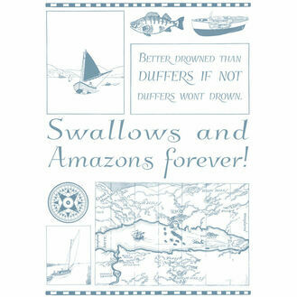 Nauticalia Swallows and Amazons Duffers Montage Tea Towel