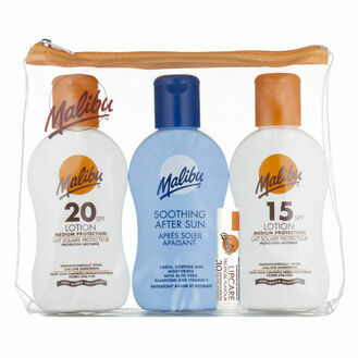 Malibu Sun 4 Piece Travel Pack SPF20/15/Aftersun/Lip SPF30 100ml/4g