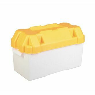 Motorhome or Caravan 110amp Yellow Leisure Battery Holding Box - Large