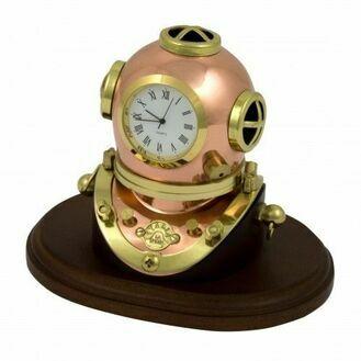 Nauticalia Polished Brass Diving Helmet Clock On Plinth