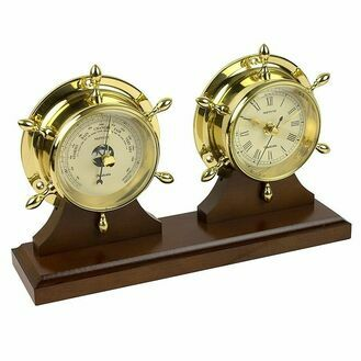 Nauticalia Neptune Clock & Barometer Set - Brass with Mahogany Plinth