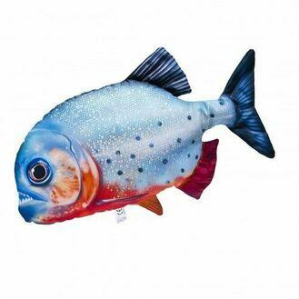 Red-Bellied Piranha Fish Cushion, 47cm