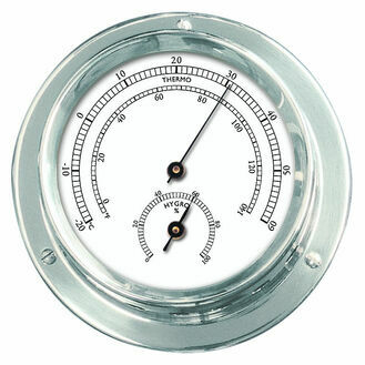 Talamex Series 110 Chrome Plated Brass Thermometer & Hygrometer