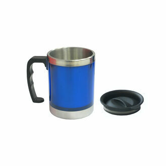 Blue Travel Mug With Stainless Steel Liner - 350ml