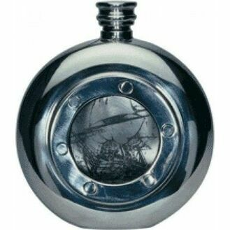 Nauticalia Porthole Pewter Hip flask - 140ml