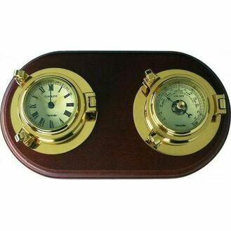 Nauticalia Brass Cockpit Clock/Barometer Set