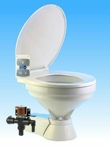 Jabsco Quiet Flush Electric 24V Compact Fresh Water Toilet Spares - 37045-0094