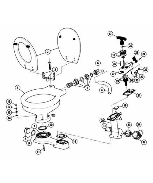 Jabsco Manual Twist & Lock Compact Bowl Toilet Spares - 29090-5000