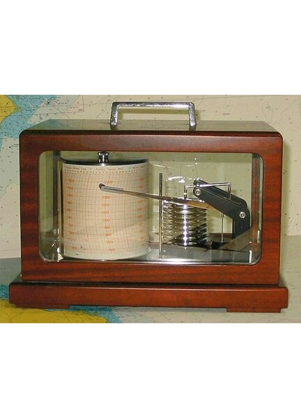 Barograph - Mahogany & Brass containing 8 Diaphragms with Stylus Damping
