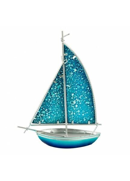 Stained Glass Bermuda-rigged Yacht - light blue - 26cm