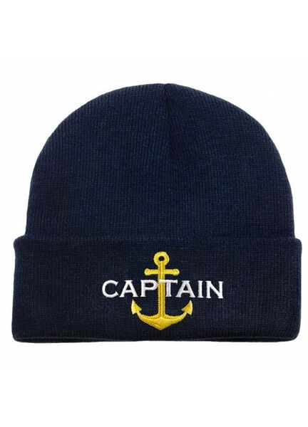 Nauticalia 'Captain & Anchor' Knitted Beanie - Navy