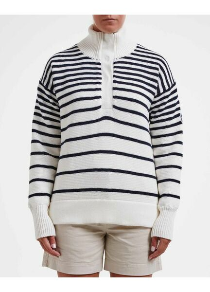 Holebrook Windproof Alison T-Neck Jumper - Off White/Navy